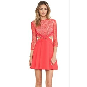 NWT Three Floor Red Coverstar Lace Cut Out Dress
